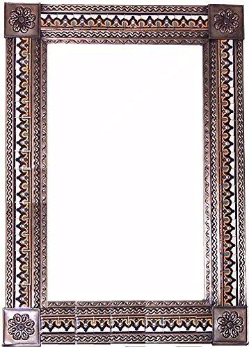 Fine Crafts Imports Big Brown Milan Tile Talavera Tin Mirror