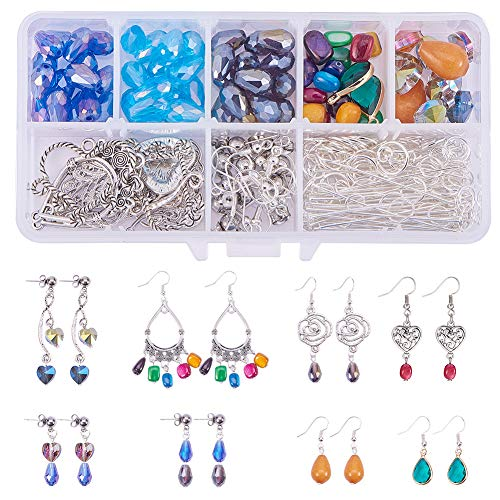 SUNNYCLUE 1 Set 214pcs Chandelier Earring Drop and Charm Pendant DIY Jewelry Making Starter Kit Include Drop Shell Heart Beads Chandelier Components LinkEarring Hooks and Jewelry Findings