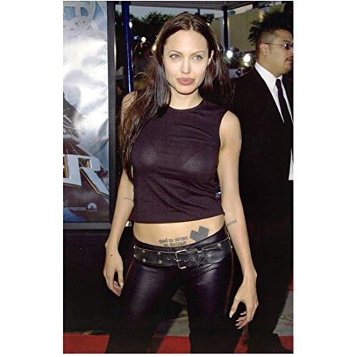 Angelina Jolie 8x10 Photo Malificent Salt Mr.& Mrs. Smith Lara Croft: Tomb Raider Black Leather Pants & Crop Top - Black Angelina Jolie
