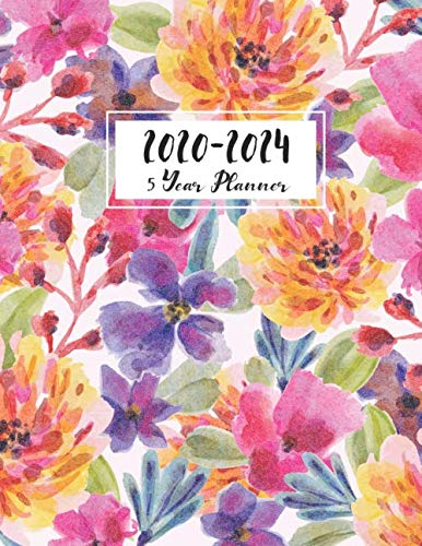 5 Year Planner 2020-2024: Flower Watecolor Cover | 60 Months Calendar | Five Year Planner With Holidays Appointment Calendar Agenda Schedule Organizer ... Five Year Planner 5 Year Monthly Planner)