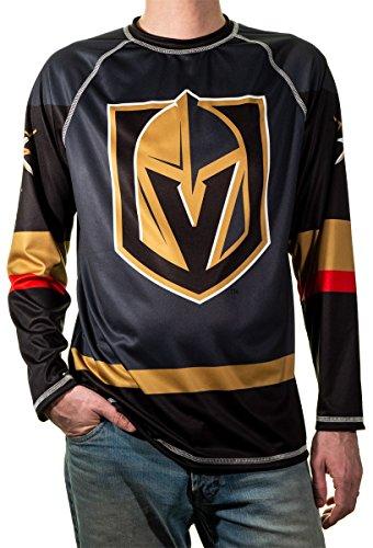 NHL Men's Game Day Long-Sleeve Performance Loose Fit Rash Guard (Vegas Golden Knights, Large)