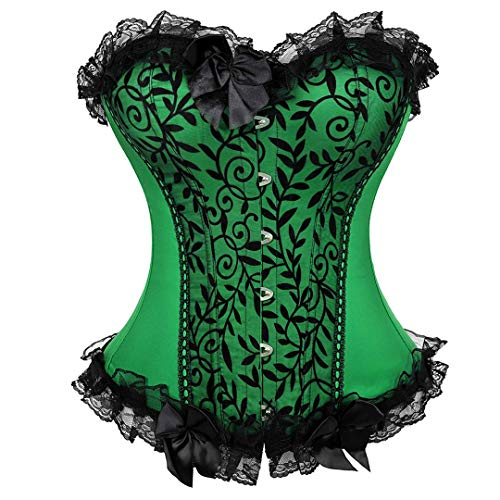 stay real Women's Bustier Corset Sexy Satin Brocade Overbust Waist Cincher Shapewear Top (Green-812
