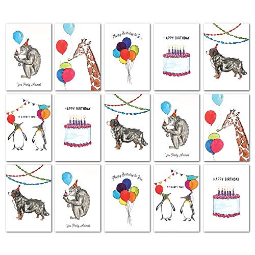 Assorted Animal Happy Birthday Cards: 36 Pack - 4 x 6 Blank Inside Bulk Box Set with Envelopes - Watercolor Adult Kids Bday Greeting Card for Every & All Occasion: Boxed Assortment of Cute White Notes by IvyCove