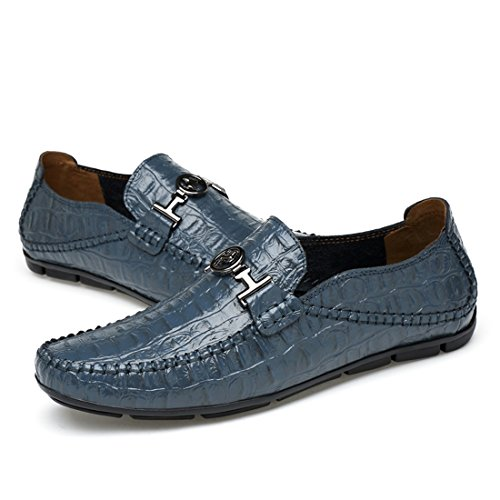 Minitoo Boys Mens Snake Metals Snap Casual Loafers Blue