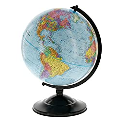 12 Globe With Blue Ocean Shading - Educational Raised Relief Political Globe - 2015 Country Lines