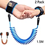 2 Pack Child Anti Lost Wrist Link, 4.9ft(1.5M) Toddler Harness Walking Leash, Safety Wrist Leash for Toddlers & Kids ( Blue and Orange)