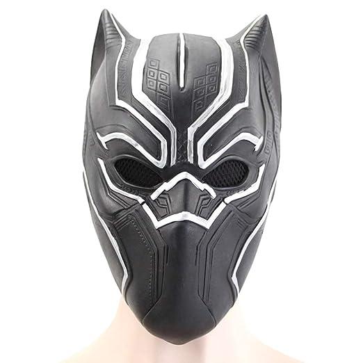 Máscara de Pantera Negra Cosplay Traje de látex Casco Negro ...