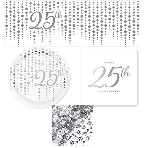 - Olive Occasions Silver 25th Anniversary Disposable Paper Party Supplies 16 Cake Plates, 16 Beverage Napkins, Banner, Confetti