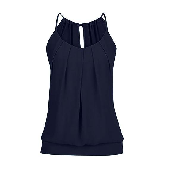Levifun Camiseta de la Ropa Tops para Mujer, Arrugado O Cuello Correas Suelto Sexy Verano