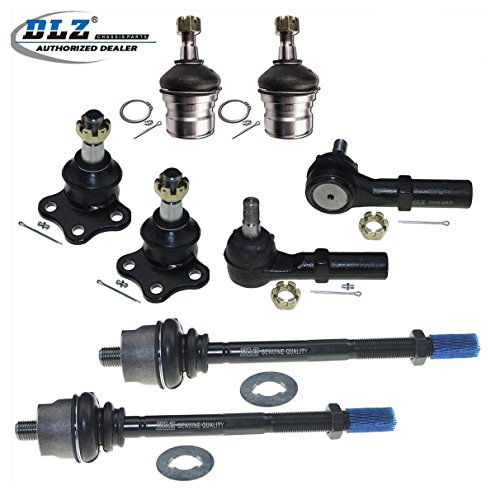 DLZ 8 Pcs Front Suspension Kit-2 Lower 2 Upper Ball Joint 2 Inner 2 Outer Tie Rod End Compatible with 1997 1998 1999 Dodge Dakota 4WD 1998 1999 Dodge Durango 4WD