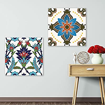 2 Panel Square Bright Color Floral Patterns x 2 Panels, Crafted to Perfection, Alluring Portrait