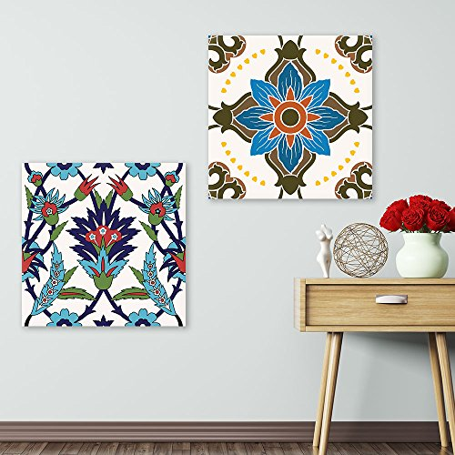 2 Panel Square Bright Color Floral Patterns x 2 Panels