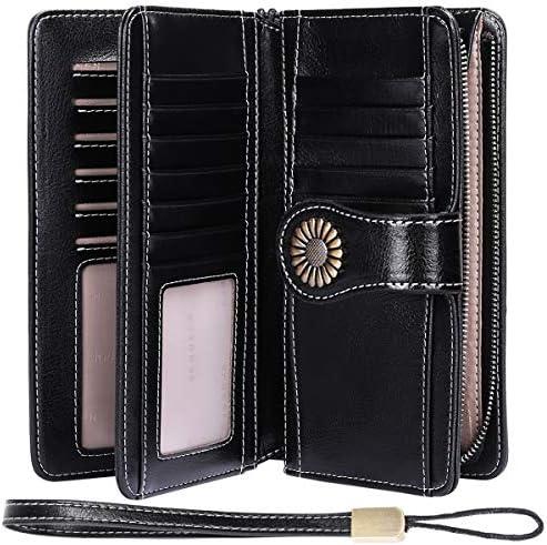 XXL Damengeldbörse 19 Fächer Rindleder Portemonnaie Geldbeutel Geldtasche 6130-R
