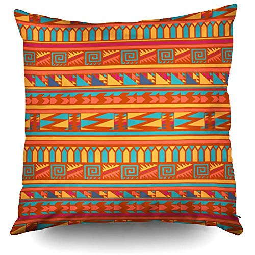 Halloween Terracotta Abstract Aztec Tribal Decorative Throw Pillow Case 18X18 Inch,Home Decoration Pillowcase Zippered Pillow Covers Cushion Cover with Words for Book Lover Worm Sofa Couch for $<!--$10.78-->