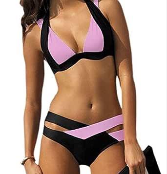 Bikini Blanco y Negro Color de Contraste Bikini Femenino ...