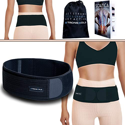Stronghold Sacroiliac Hip Belt + Free Treatment Guide for Women and Men That Alleviates Sciatic, Pelvic, and Lower Back Pain | SI Joint Support | Durable Hip Brace |