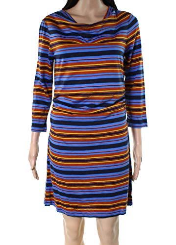 Patagonia Kamala Cowl Neck Dress, Hatty Stripe/Andes Blue LG (Women's 12-14) (Neck Shift Cowl Dress)