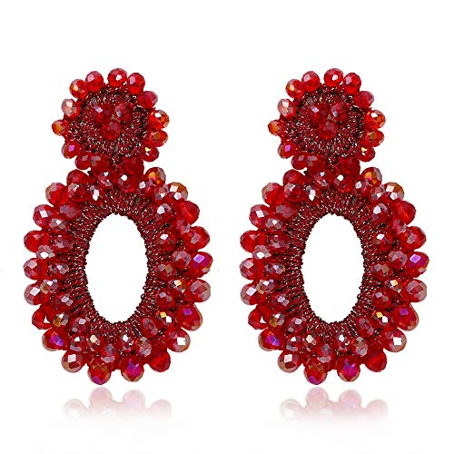 BEST LADY Statement Beaded Hoop Earrings - Fashion Bohemian Handmade Whimsical Drop Earrings for Women Jewelry, Idear Gifts for Mom, Sisters and Friends (Red Crystal)