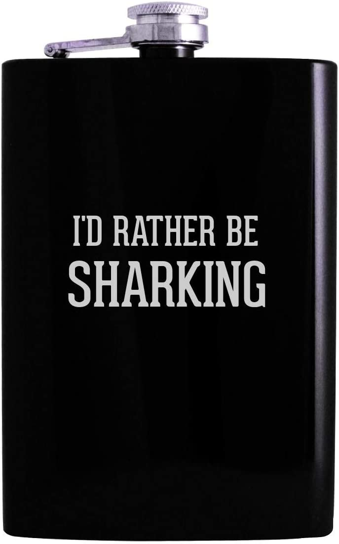 I'd Rather Be SHARKING - 8oz Hip Alcohol Drinking Flask, Black