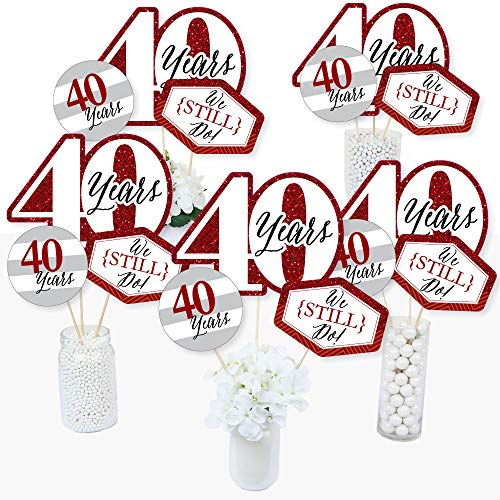 We Still Do - 40th Wedding Anniversary - Anniversary Party Centerpiece Sticks - Table Toppers - Set of 15 ()