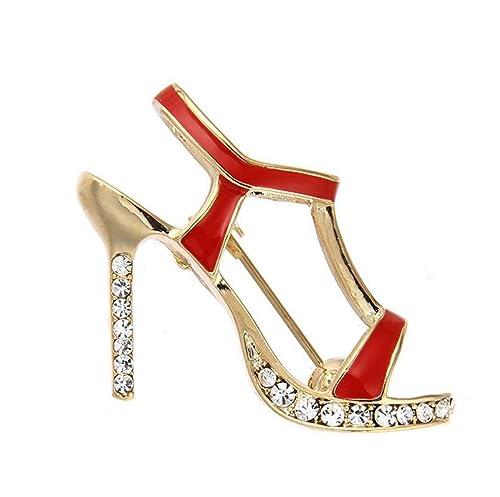 Amazon.com: Broche para zapatos de tacón alto, esmalte rojo ...