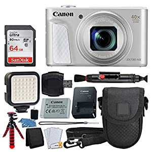 Canon PowerShot SX730 HS Digital Camera (Silver) + 64GB Memory Card + Point & Shoot Case + Flexible Tripod + LED Video Light + USB Card Reader + Lens Cleaning Pen + Cleaning Kit + Accessory Bundle