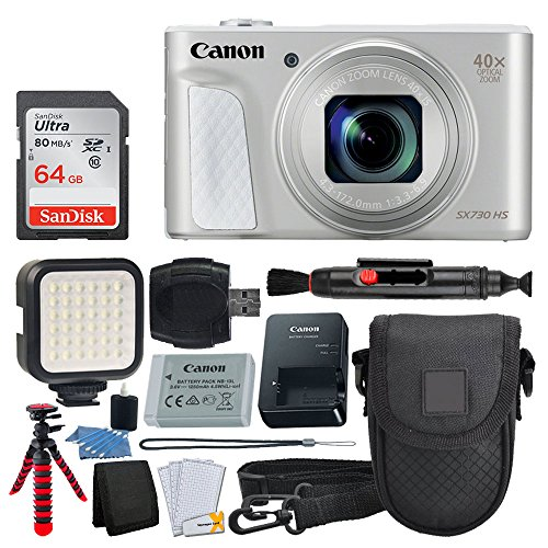 - Canon PowerShot SX730 HS Digital Camera (Silver) + 64GB Memory Card + Point & Shoot Case + Flexible Tripod + LED Video Light + USB Card Reader + Lens Cleaning Pen + Cleaning Kit + Accessory Bundle