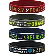 """(12-pack) """"Faith, Believe, Peace, Grace"""" Silicone Bible Wristbands - Wholesale Religious Jewelry Gifts"""