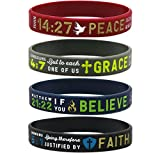 "(12-pack) ""Faith, Believe, Peace, Grace"" Silicone Bible Wristbands - Wholesale Religious Jewelry Gifts"