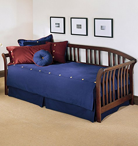 Salem Complete Wood Daybed with Curved Back Panel and Link Spring, Mahogany Finish, - Bedroom Mahogany Daybed