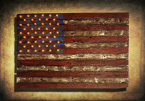 American Flag, Weathered Wood, Edison Bulb, 3D, Wooden, vintage, art, distressed, red, blue, white patriotic, wall art, USA, home decor