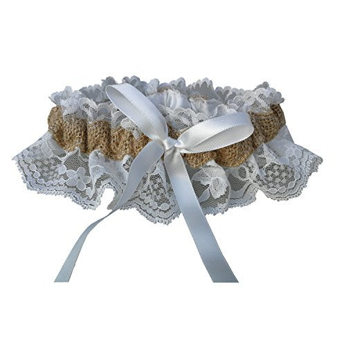 Lasricas Burlap Garter Rustic Wedding Lace Garter with Ribbon Lining Free of Itch by Lasricas