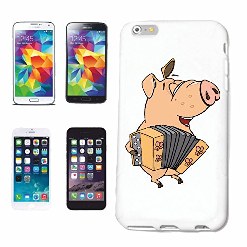 """cas de téléphone iPhone 7+ Plus """"PIG PLAYING ZIEH HARMONIKA domestique PIG phacochère SANGLIER MINI PIG PIG RACES Ferkel SAU"""" Hard Case Cover Téléphone Covers Smart Cover pour Apple iPhone en blanc"""
