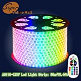 SuperonlineMall AC 110-120V Flexible Waterproof LED Strip Lights, 30m/98.4ft - RGB