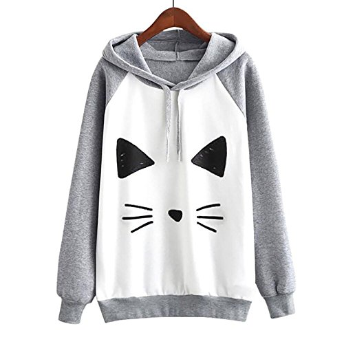 pullover sciolto manica stampa casuale coniglio con bella top camicetta cappuccio felpa felpa maglione lunga LQQSTORE da gatto donna Donna ZO4nzp