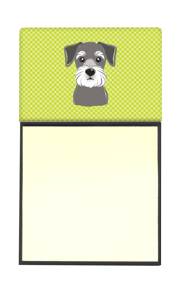 Multicolor 3.25 by 5.5 Carolines Treasures Checkerboard Lime Green Schnauzer Refillable Sticky Note Holder or Postit Note Dispenser