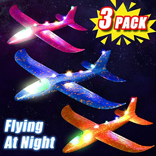 3 Set Airplane Toy for Kid, 14'' Light Up Throwing Foam Plane for Boy Girl Shining Glider Airplane Model Toy with Dual Flight Mode Plane Jet Fly at Night Outdoor Game Flying Toy Gift for 3-12 Year Old