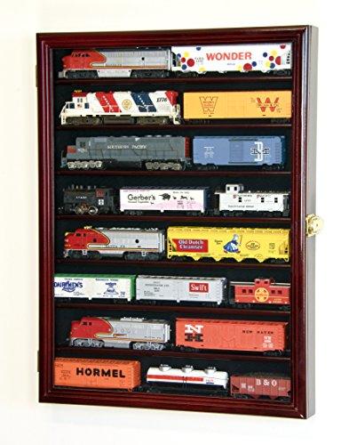 sfDisplay.com,LLC. Small HO Scale Train Model Trains Locomotive Engine Display Case Cabinet Wall Rack w 98 UV Lockable Cherry Wood Finish
