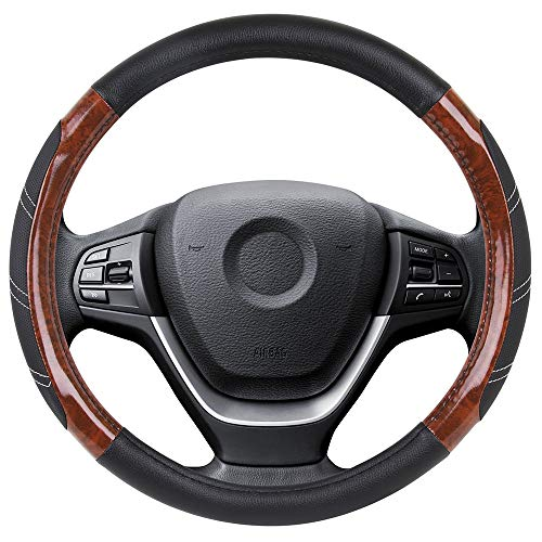 Elantrip Wood Grain Steering Wheel Cover Leather 14 1/2 inch to 15 inch Anti Slip Universal for Car Truck SUV Jeep Black