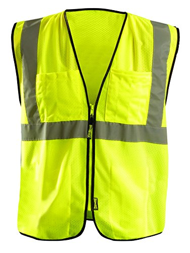 OccuNomix ECO-GCS-Y4/5X High Visibility Value Mesh Surveyor Zipper Safety Vest, Class 2, 100% ANSI Polyester Mesh, 4X-Large / 5X-Large, Yellow