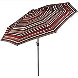 Sunnydaze 9 Foot Outdoor Patio Umbrella with Solar Lights & Tilt/Crank, LED, Awning Stripe