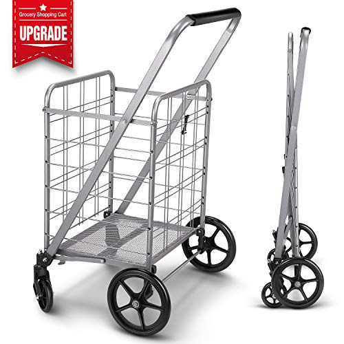 Newly Released Grocery Utility Flat Folding Shopping Cart with 360° Rolling Swivel Wheels Heavy Duty & Light Weight Extra Large Utility Cart