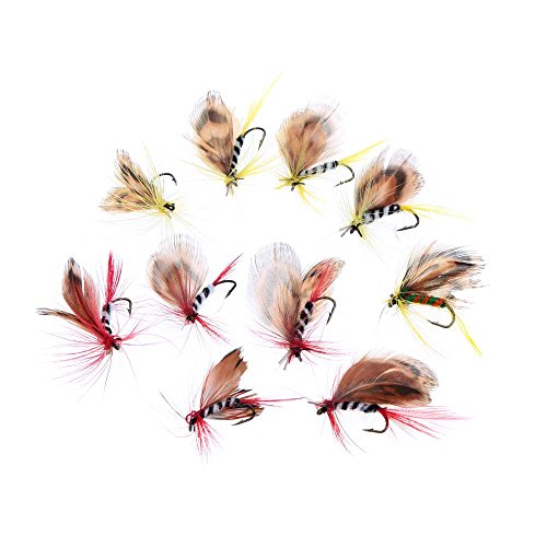 Fly Single Salmon (10pcs/set Butterfly Style Salmon Flies Trout Single Hook Dry Fly Fishing Lure Fishing Tackle Carbon Steel Fly fishing Hooks)