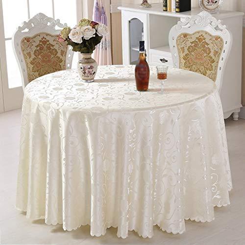 blanc 280 cm ZHAS Nappe Table Ronde Accueil hôtel Ronde Table Basse de Mariage Restaurant européen Restaurant (Couleur  Blanc, Taille  280 cm)