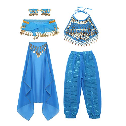 (ACSUSS Girls Sequins Belly Dance Costumes Halter Crop Tops with Harem Pants Veil Bracelet Set Light Blue)