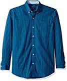 IZOD Men's Premium Essential Gingham Long Sleeve Shirt (Regular and Slim Fit), Saxony Blue, Large