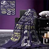 smallbeefly Sports Warm Microfiber All Season Blanket Retro Style American Football College Theme Illustration Athletic Championship Apparel Print Artwork Image 62''x60'' Purple