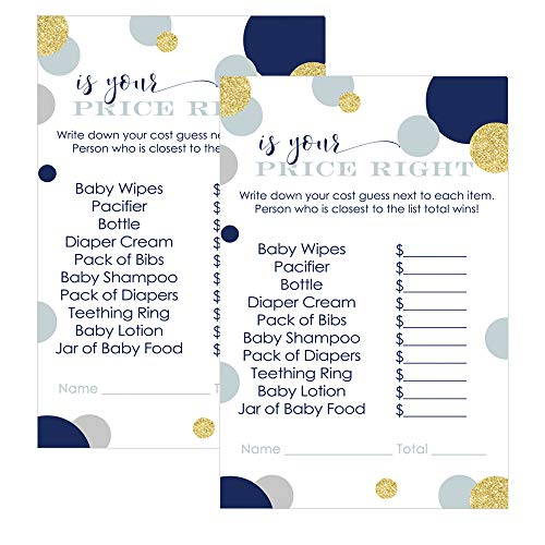 Paper Clever Party Navy and Gold Price is Right Baby Shower Games (Pack of 25) Fun Guessing Activity Cards for Guests ()