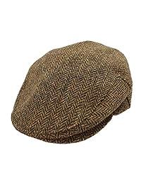 John Hanly & Co. Irish Tweed Flat Cap Brown Herringbone Medium