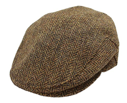 John Hanly Men's Flat Cap Brown Herringbone 100% Wool Made in Ireland (Herringbone Flat Cap)